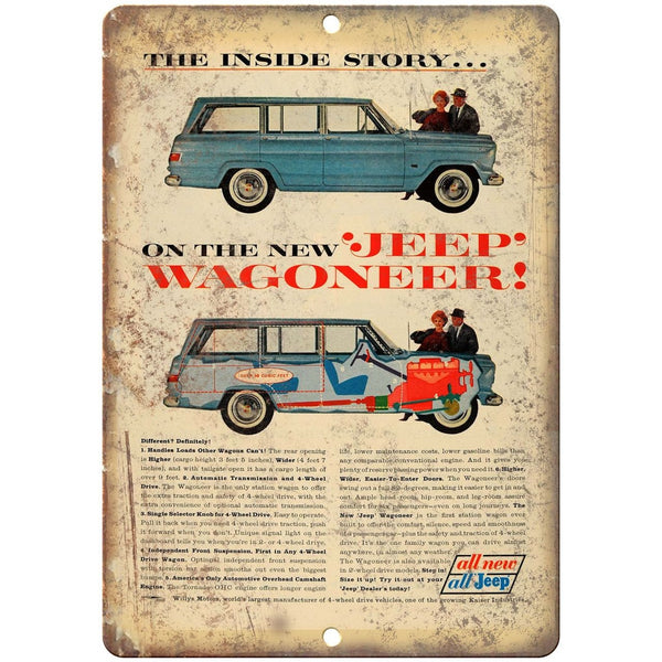 "Jeep Wagoneer Willys Overland 10"" x 7"" Reproduction Metal Sign"