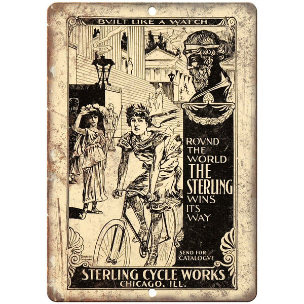 "Sterling Cycle Works Bicycle Vintage Art 10"" x 7"" Reproduction Metal Sign B422"