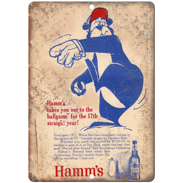 "10"" x 7"" Metal Sign - 1951 Hamm's Beer White Sox - Vintage Look Reproduction"