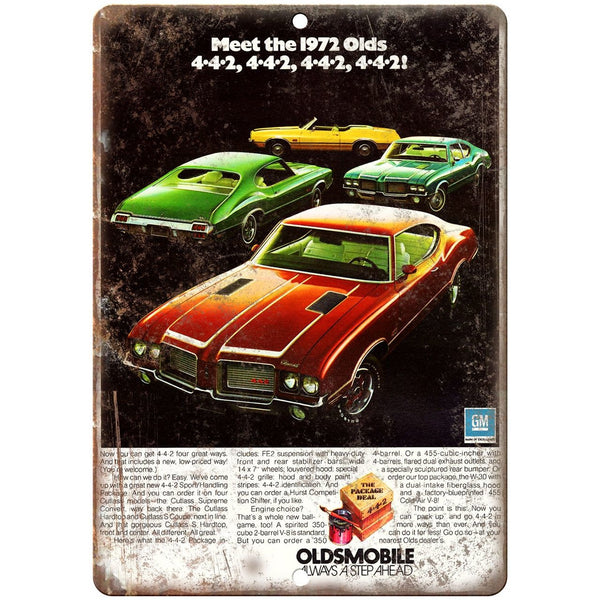 "1972 Oldsmobile Cutlass Ad 10"" x 7"" Reproduction Metal Sign"