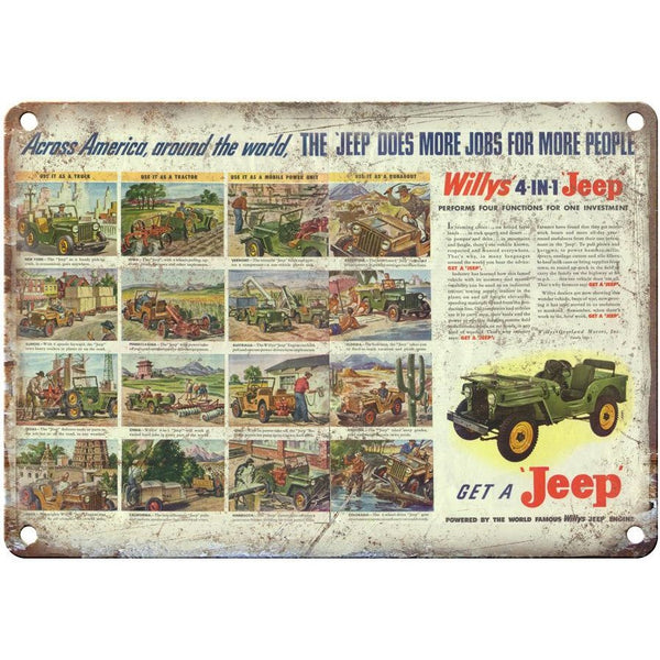 "Jeep Willys Overland 4 in 1 Jeep 10"" x 7"" Reproduction Metal Sign"