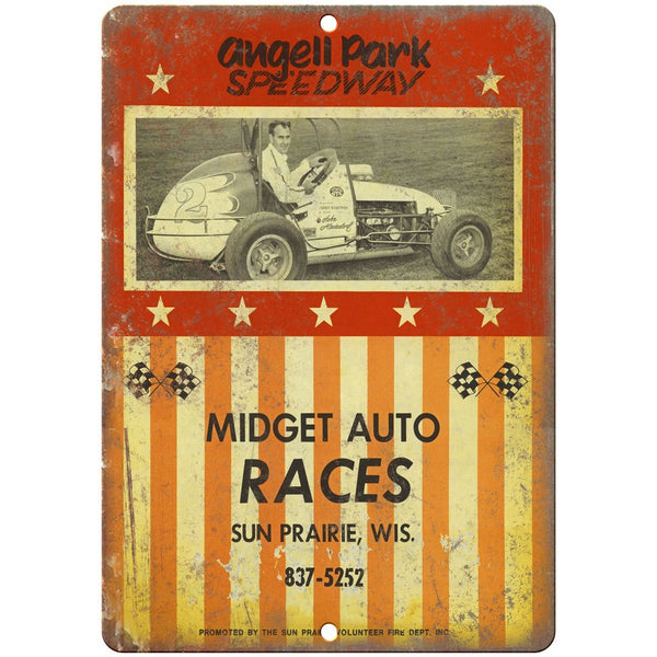 "Angell Park Speedway, Midget Auto Races 10"" x 7"" Retro Metal Sign"