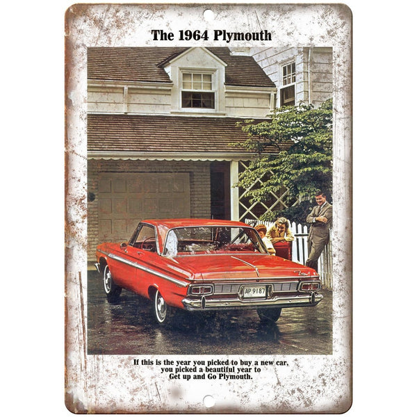 "1964 Plymouth Car Manual Ad 10"" x 7"" Reproduction Metal Sign"