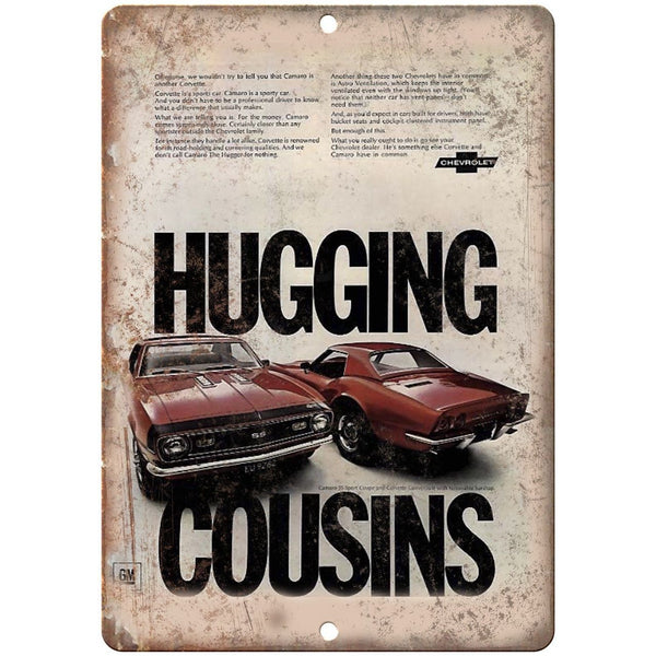 "Chevy Hugging Cousins Retro Print Advertisment 10"" x 7"" Reproduction Metal Sign"