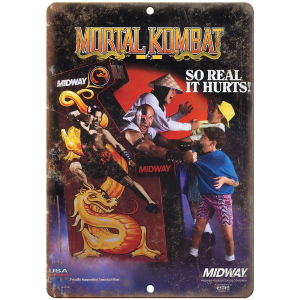 "Mortal Kombat Midway Arcade Game Ad 10"" x 7"" Retro Look Metal Sign"