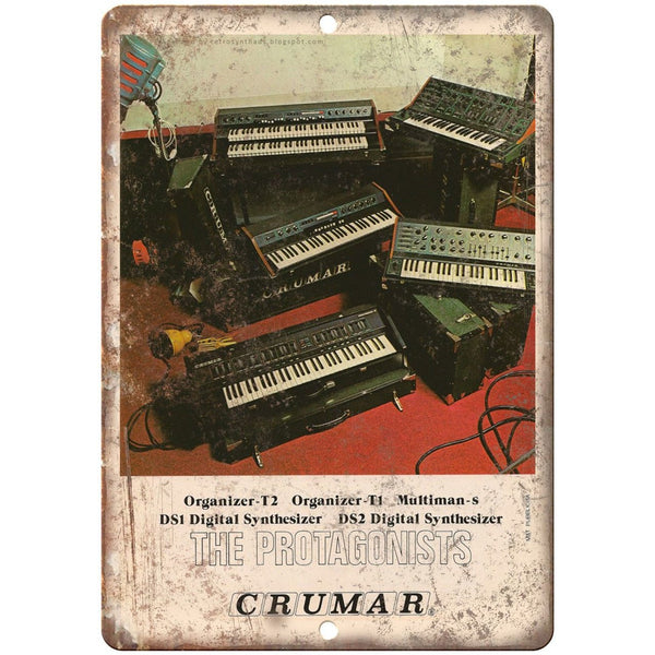 "CRUMAR Protagonist DS2 Digital Synthesizer 10"" x 7"" Reproduction Metal Sign E20"