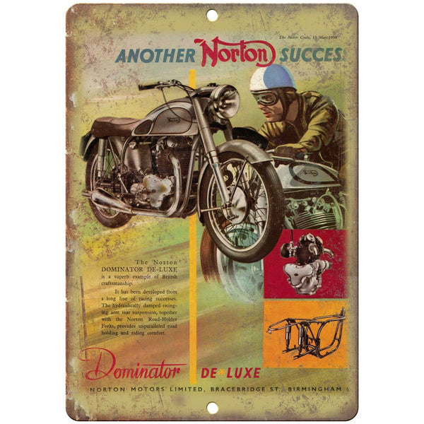 "Norton Motorcycle Dominator de Luxe Ad 10"" x 7"" Reproduction Metal Sign F19"