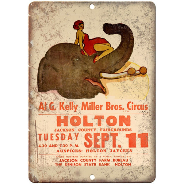 "AI G. Kelly Miller Bros Circus Poster 10"" X 7"" Reproduction Metal Sign ZH54"