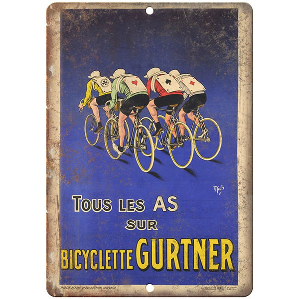 "Gurtner Bicyclette Vintage Bicycle Ad 10"" x 7"" Reproduction Metal Sign B267"