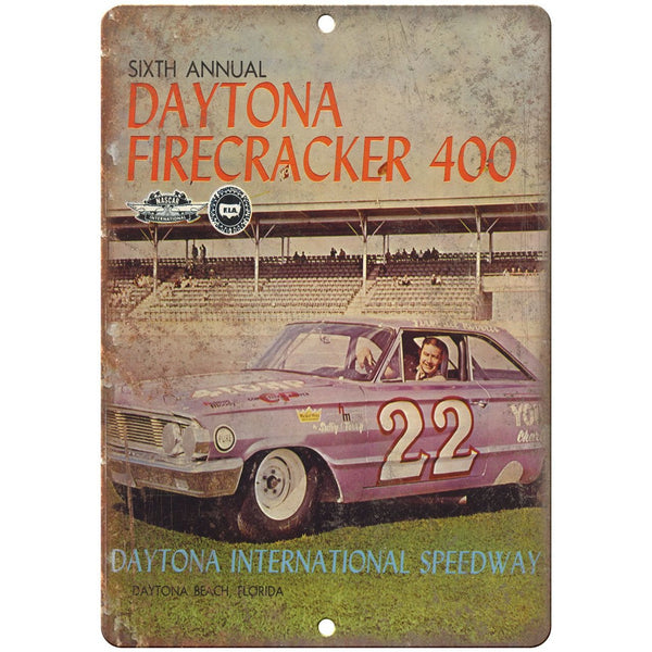 "Daytona Firecracker 400, stock car races, drag races 10"" x 7"" Retro Metal Sign"