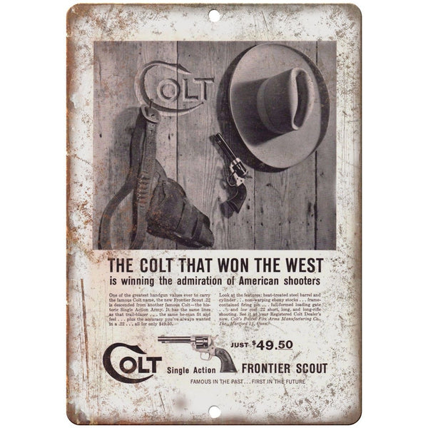 "Colt Single Action Frontier Scout Pistol 10"" x 7"" Reproduction Metal Sign"