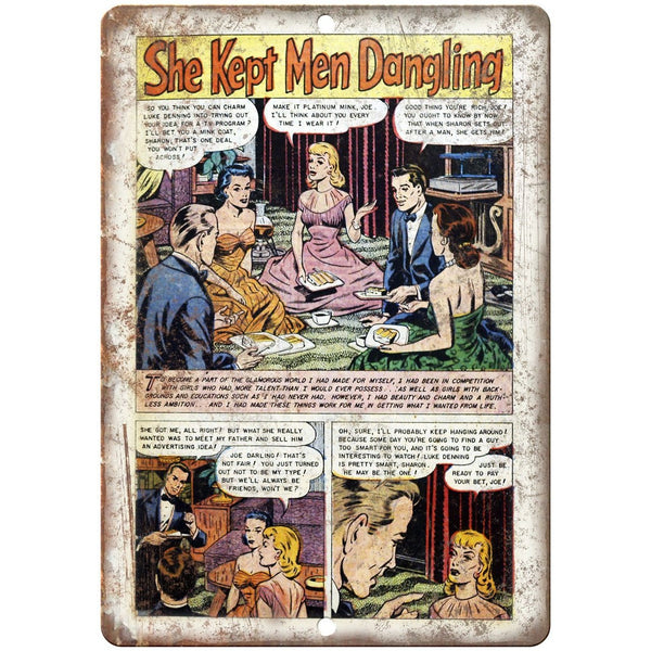 "Ace Comics She Kept Me Dangling Comic 10"" X 7"" Reproduction Metal Sign J415"