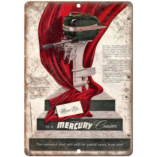 "Mercury Cruiser Boating Vintage Ad 10"" x 7"" Reproduction Metal Sign L44"