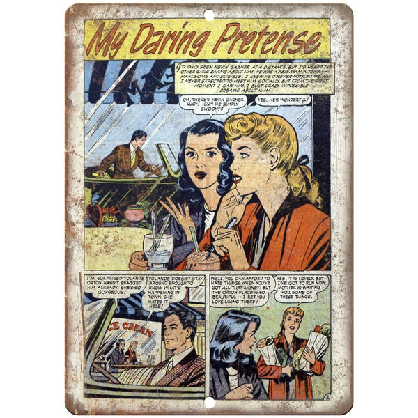 "Ace Comics My Daring Pretense Comic Strip 10"" X 7"" Reproduction Metal Sign J401"