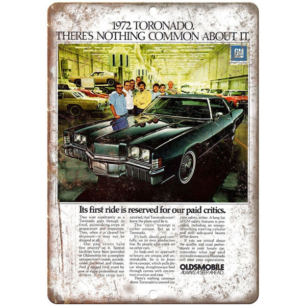"1972 Oldsmobile Tornado Car Ad 10"" x 7"" Reproduction Metal Sign"