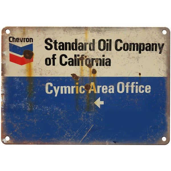 "Porcelain Look Chevron Standard Oil Company 10"" x 7"" Retro Look Metal Sign"