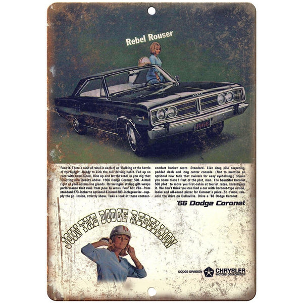 "1966 Dodge Coronet Rebellion Vintage Car Ad 10""x7"" Reproduction Metal Sign A225"
