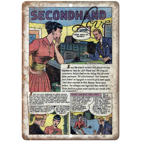 "Ace Comics Second Hand Love Comic Strip 10"" X 7"" Reproduction Metal Sign J402"