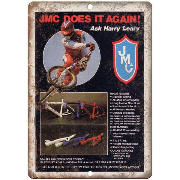 "10"" x 7"" Metal Sign - JMC BMX Racing Bike Harry Leary Vintage Look Reproduction"