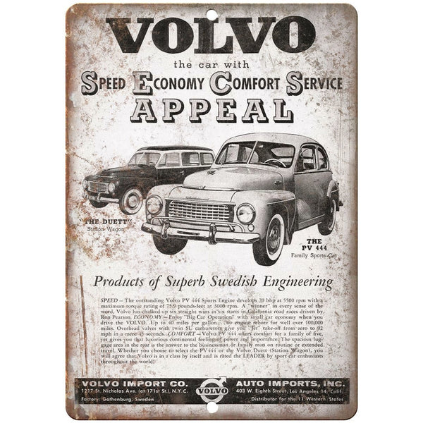 "RARE Volvo Duett PV 444 Family Sports Car 10"" x 7"" Reproduction Metal Sign"