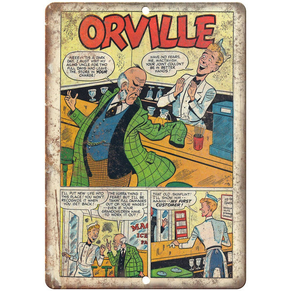 "Orville Comic Strip Vintage Ad 10"" x 7"" Reproduction Metal Sign J511"