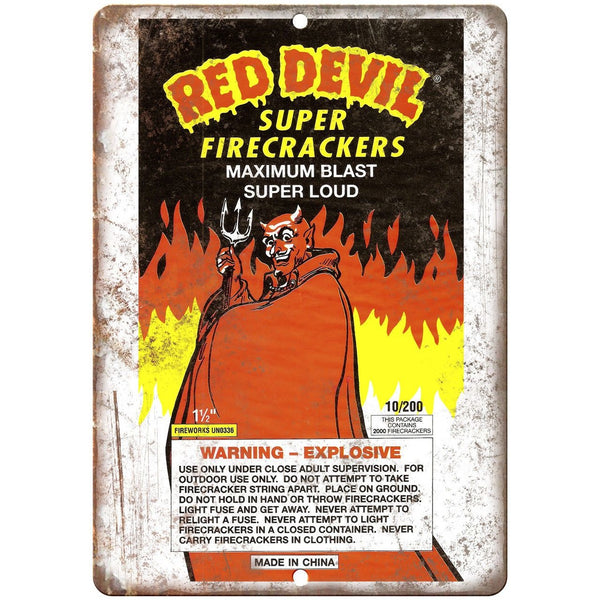 "Red Devil Firecracker Package Art 10"" X 7"" Reproduction Metal Sign ZD65"