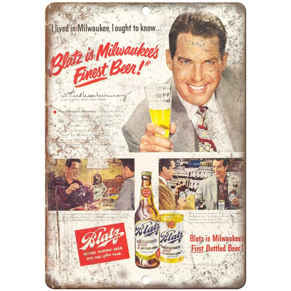 "Blatz Milwaukee's Best Beer Vintage Ad 10"" x 7"" Reproduction Metal Sign E306"