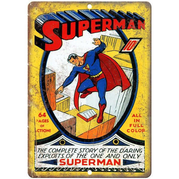 "Superman Vintage Comic Book Cover 10"" X 7"" Reproduction Metal Sign J298"