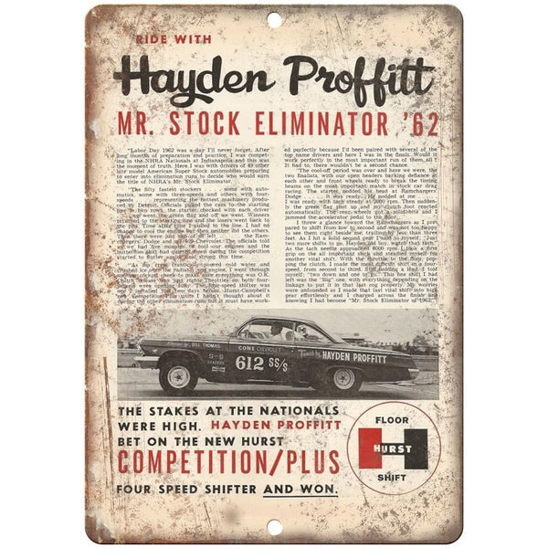 "1962 Hurst Performance - Hayden Proffitt - 10"" x 7"" Reproduction Metal Sign"
