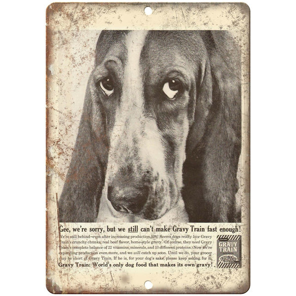 "Gravy Train Dog Food Bassett Hound Ad 10"" X 7"" Reproduction Metal Sign N345"