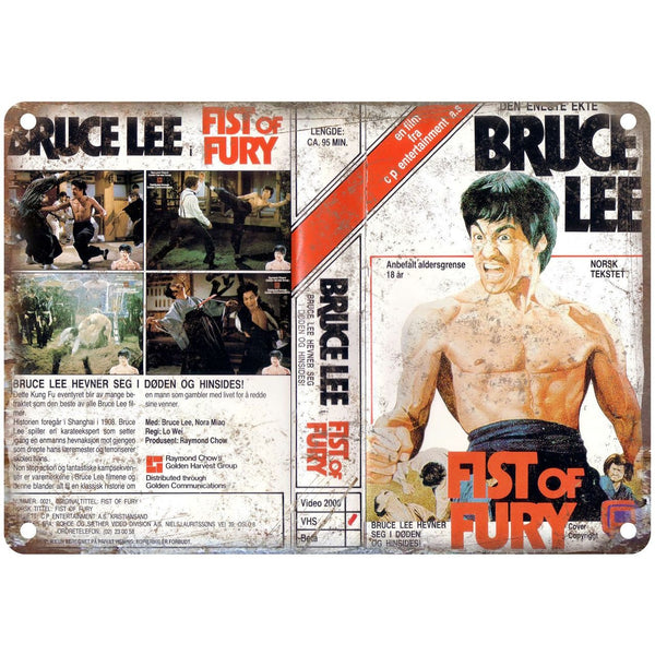 "1972 Bruce Lee Fist of Fury VHS Cover 10"" x 7"" Reproduction Metal Sign"