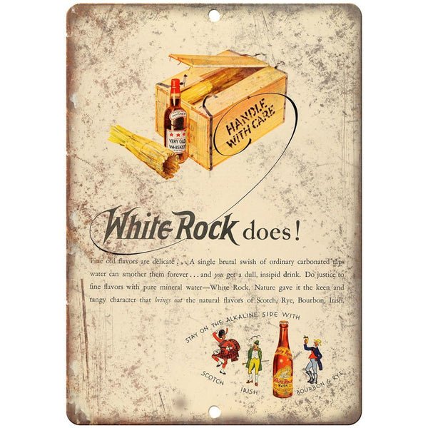 "White Rock Wiskey Vintage Ad 10"" X 7"" Reproduction Metal Sign N319"