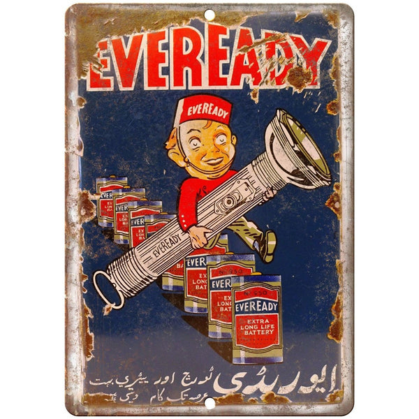Eveready Batteries Porcelain Look Reproduction Metal Sign U115