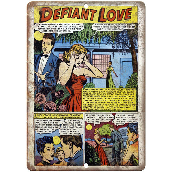 "Ace Comics Defiant Love Comic Strip 10"" X 7"" Reproduction Metal Sign J396"