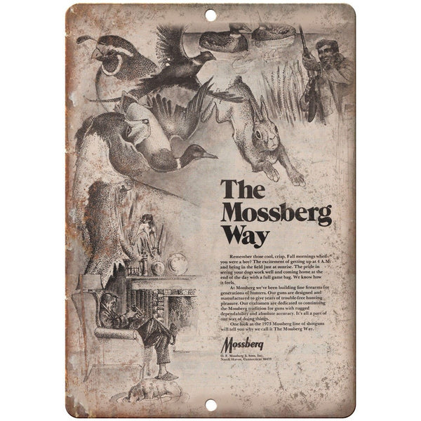 "Mossberg Firearms Vintage Ad 10"" x 7"" Reproduction Metal Sign"
