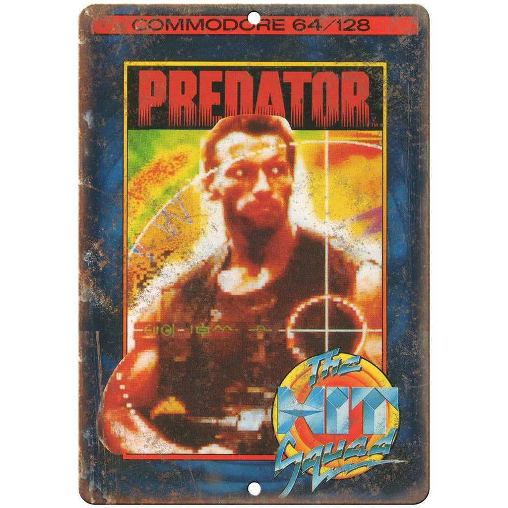 "Commodore 64 The hit Squad Predator Game 10"" x 7"" Reproduction Metal Sign G14"