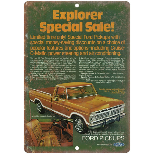 "1973 - Ford Pickup Cruise O-Matic Vintage Ad - 10"" x 7"" Retro Look Metal Sign"