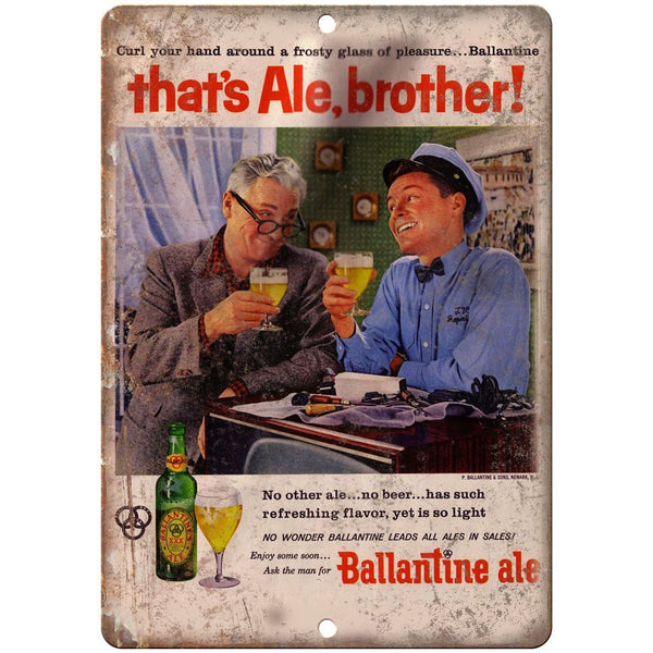 "Ballantine Ale Vintage Beer Breweriana Ad 10"" x 7"" Reproduction Metal Sign E294"