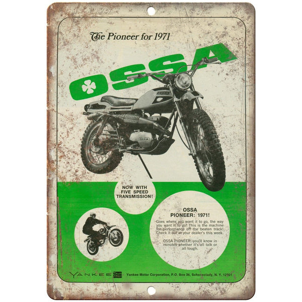 "1971 OSSA Pioneer Motorcycle Vintage Ad 10"" x 7"" Reproduction Metal Sign A370"
