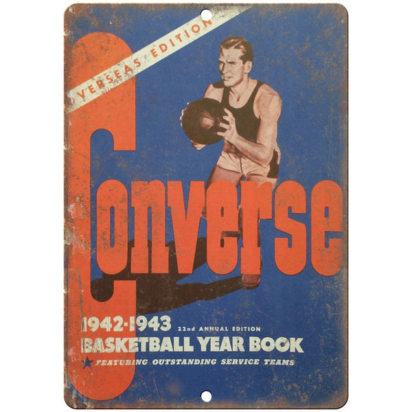 "1942 - 1943 Converse Basketball Yearbook RARE 10"" x 7"" Reproduction Metal Sign"