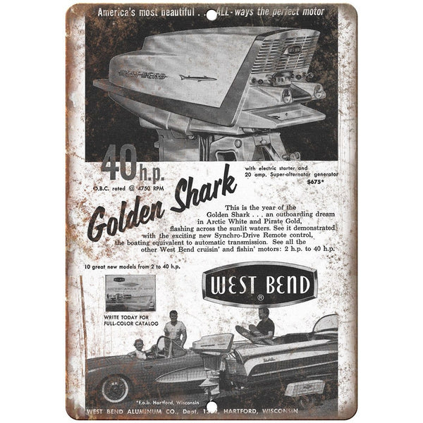 "West Bend Outboard Motor Golden Shark Boating 10"" x 7"" Reproduction Metal Sign"