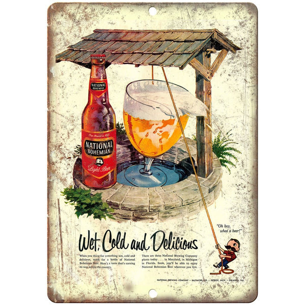 "National Bohemian Beer Vintage Ad 10"" x 7"" Reproduction Retro Look Metal Sign"