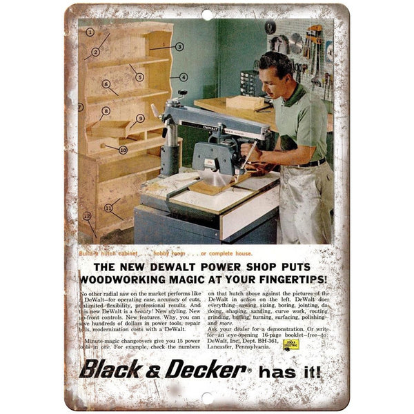 "DeWalt Black & Decker Power Shop Woodworking - 10"" x 7"" Retro Look Metal Sign"