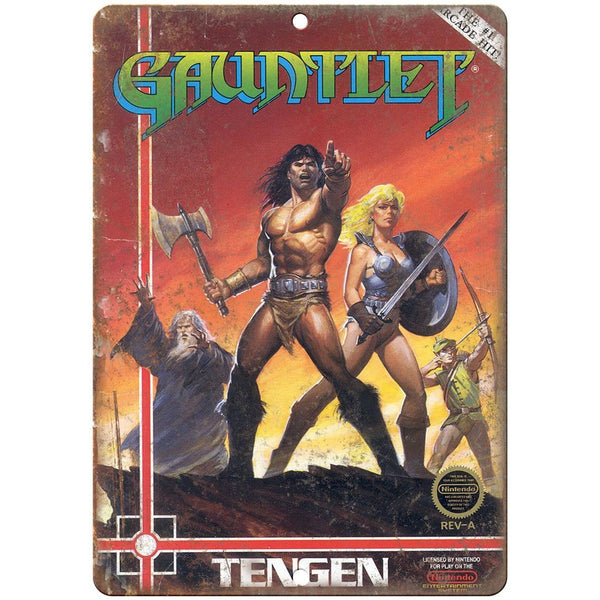 "Original Nintendo Gauntlet Tengen Box Art 10""x7"" Reproduction Metal Sign A22"