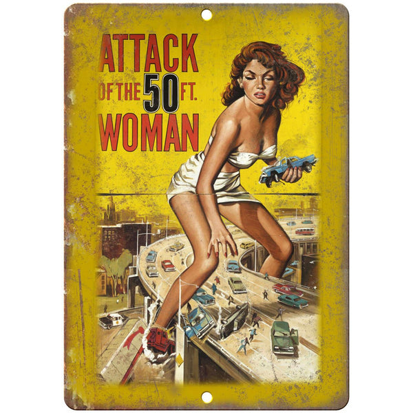 "Attack of the 50ft Woman Movie Poster 10"" X 7"" Reproduction Metal Sign I110"