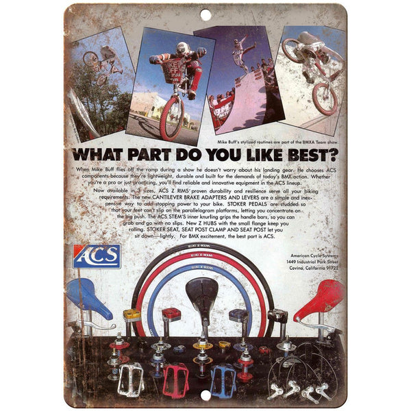 "ACS Rims BMX Mag Wheels Vintage Ad 10"" x 7"" Reproduction Metal Sign B457"