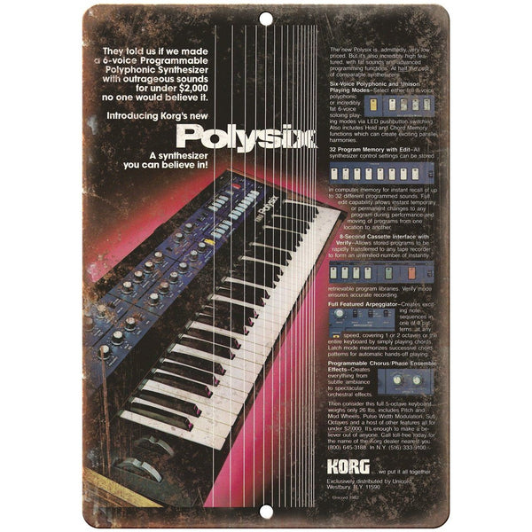 "Korg Polysix Keyboard Vintage Ad 10"" x 7"" Reproduction Metal Sign E11"