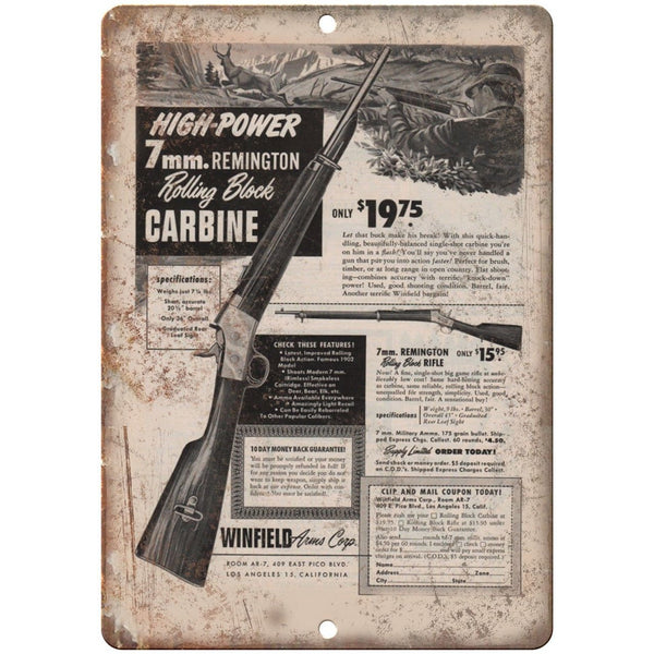 "Remington High-Power 7mm Rolling Block Carbine 10"" x 7"" Reproduction Metal Sign"
