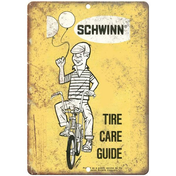 "Schwinn Bicycles Tire Care Guide Catalog Cover - 10"" x 7"" Retro Look Metal Sign"