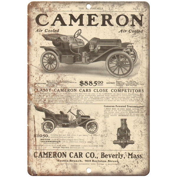 "1911 - Cameron Car Company Beverly Ma Vintage Ad - 10"" x 7"" Retro Metal Sign"
